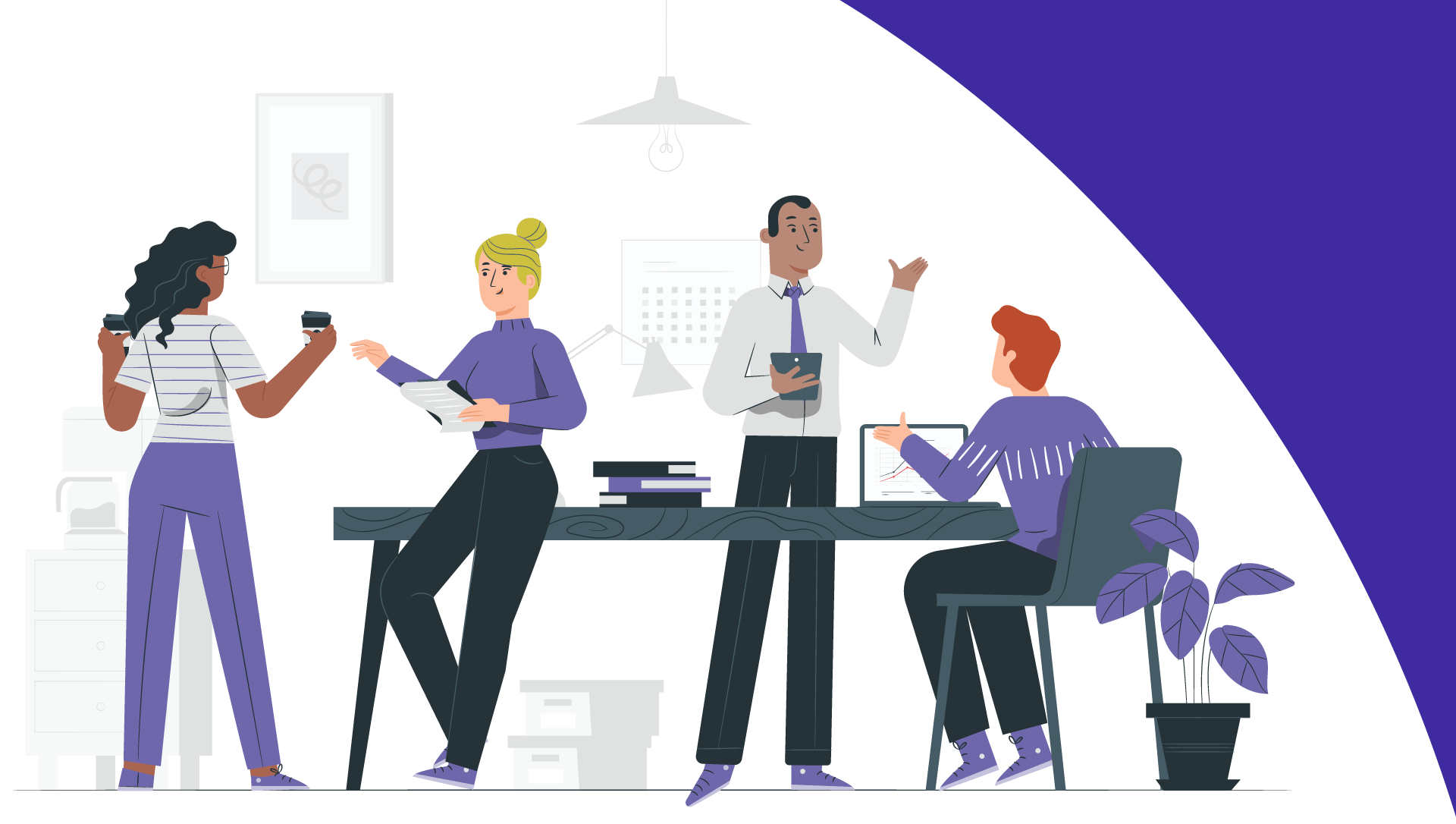 illustration of office workers interacting